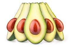 Fünf Avocados mit den öligen Steinen lokalisiert Lizenzfreies Stockbild