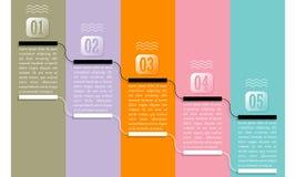 Fünf Bereiche für Text mit nummerierten Schritten vektor abbildung