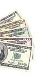 Fünf bis hundert Dollarbanknoten Lizenzfreies Stockbild