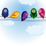 Fünf bunte Vögel der Karikatur auf dem Himmel Lizenzfreie Stockfotografie