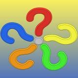 Fünf 3d Fragezeichen Stockbild