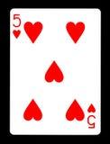 Fünf der Spielkarte der Herzen, lizenzfreies stockfoto