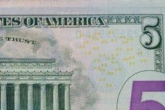 Fünf-Dollar-Banknote Stockfotografie