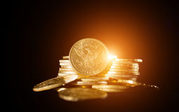 Fünf Dollar Goldmünzen Stockbild