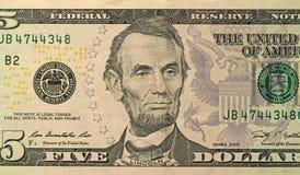 Fünf Dollar mit einer Anmerkung 5 Dollar Stockfotos