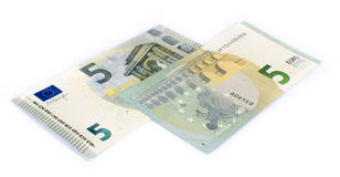 Fünf Eurobanknoten Stockfotos