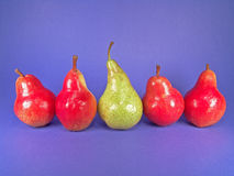 Fünf europäische Birnen (ein Grün) stockfoto