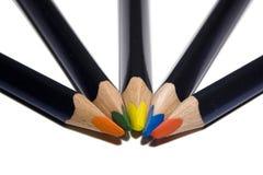 Fünf Farbe pensil Lizenzfreie Stockfotos