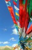 Fünf Farben der Flaggen des tibetanischen Buddhismus Stockfotos