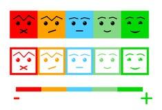 Fünf Farbgesichts-Feedback/Stimmung Gesichtsskala des Satzes fünf - neutrales trauriges des Lächelns - lokalisierte Vektorillustr vektor abbildung