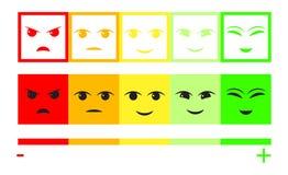 Fünf Farbgesichts-Feedback/Stimmung Gesichtsskala des Satzes fünf - neutrales trauriges des Lächelns - lokalisierte Vektorillustr lizenzfreie abbildung