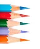 Fünf farbige Bleistiftzeile Stockfoto