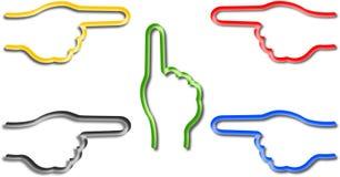 Fünf farbige Hände mit dem spitzen Finger Stock Abbildung