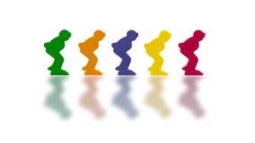 Fünf farbige Pfand auf einem weißen Hintergrund lizenzfreie stockfotos