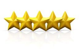 Fünf gelbe Sterne auf glatter Fläche Stockbild