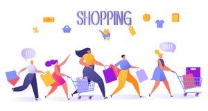 Fünf glücklich, flache Leutecharaktere, die mit Einkaufstaschen laufen und LKWs stock abbildung