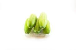 Fünf grüne Gurken auf weißem Hintergrund Stockfotografie
