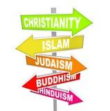 Fünf Hauptweltreligionen auf Pfeil-Zeichen Stockbild