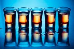 Fünf heiße Getränke stockfotos