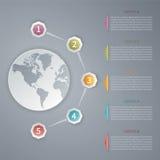 Fünf infographic Schablone des Schrittvektors 3D mit Weltkarte Lizenzfreie Stockfotos