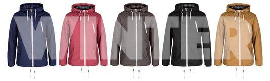 Fünf Jacken mit Wort Winter lizenzfreies stockbild