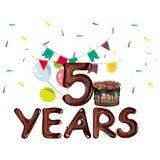 Fünf Jahre Geburtstag mit Ballonen und Bändern stock abbildung