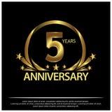 Fünf Jahre Jahrestag golden Jahrestagsschablonenentwurf für Netz, Spiel, kreatives Plakat, Broschüre, Broschüre, Flieger, Zeitsch stock abbildung