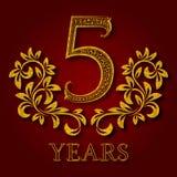 Fünf Jahre kopierte Firmenzeichen des Jahrestages Feier goldenes Logo der 5. Jahrestagsweinlese Stockfotos