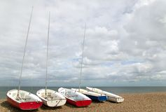 Fünf kleine Yachten Lizenzfreies Stockbild