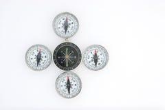 Fünf Kompassse Stockfoto