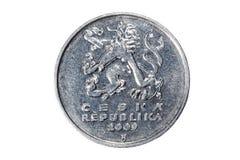 Fünf Kronen Die Währung der Tschechischen Republik Makrofoto einer Münze Tscheche stellt eine Fünfkrona-Münze dar Stockfotos