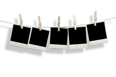 Fünf leere Leerzeichen Polaroid Stockbild