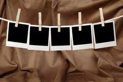 Fünf leere sofortige Fotos Lizenzfreies Stockbild