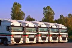 Fünf LKWas in einer Reihe mit Bäumen und blauem Himmel Stockfotos