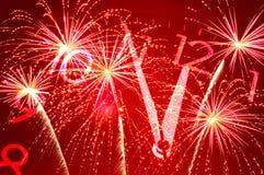 Fünf Minuten bis zwölf und Feuerwerk Lizenzfreies Stockbild