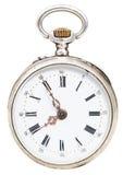 Fünf Minuten zu acht Uhr auf Retro- Uhr der Skala Lizenzfreie Stockfotos