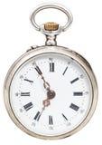 Fünf Minuten zu sieben Uhr auf Retro- Uhr der Skala Lizenzfreies Stockfoto