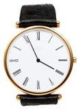 Fünf Minuten zu vier Uhr auf Skala der Armbanduhr Lizenzfreie Stockfotos