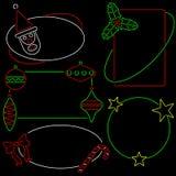 Fünf Neonweihnachtsfelder Stockfoto