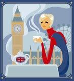 Fünf-O-Borduhr Tee in London Stockfoto