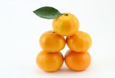 Fünf Orangen Stockbild