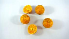 Fünf Orangen auf weißem Hintergrund Stockfoto