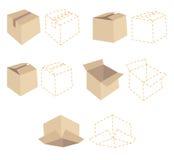 Fünf Pappschachteln Fünf Entwürfe der punktierten Linie von Kästen vektor abbildung