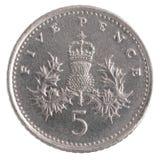 Fünf Pennys-Münze Lizenzfreie Stockfotos