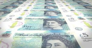 Fünf Pfund Sterling England-Bankbanknoten, die auf Schirm, Geld, Schleife rollen vektor abbildung