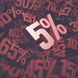 Fünf Prozent-Rabatt Stockbild