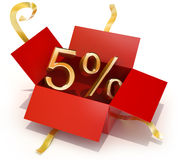 Fünf Prozent-Rabatt-Geschenk-Kasten Stockfoto