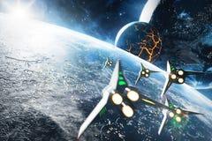 Fünf Raumschiffe, die zum Einsturzplaneten fliegen Elemente dieses Bildes geliefert von der NASA Lizenzfreie Stockfotos