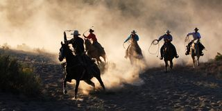 Fünf Reiter panoramisch Lizenzfreie Stockfotos