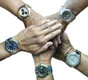 Fünf rolex Sportuhren in fünf Händen Stockfotos
